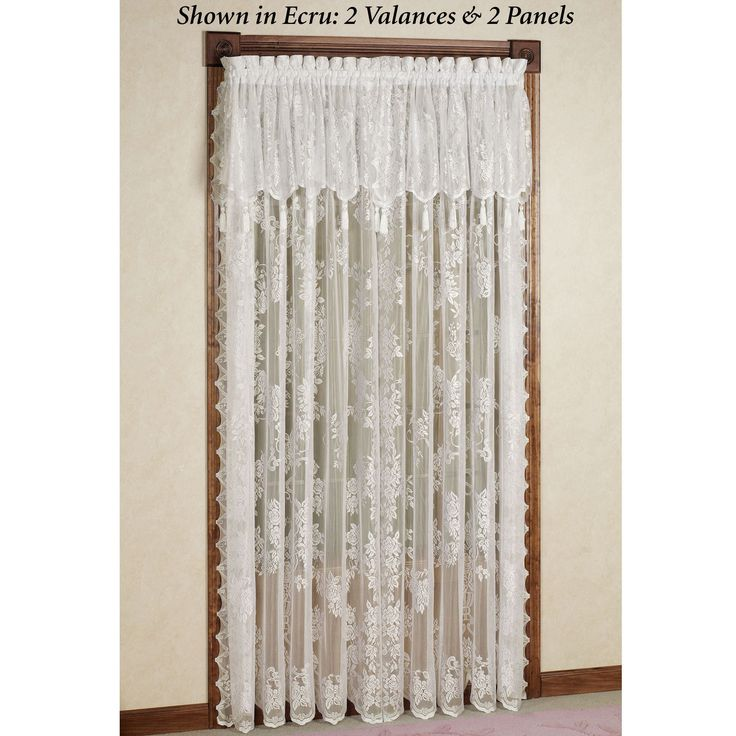 living room window valance ideas%0A Easy Style Carly Lace Curtain Panel with Attached Valance