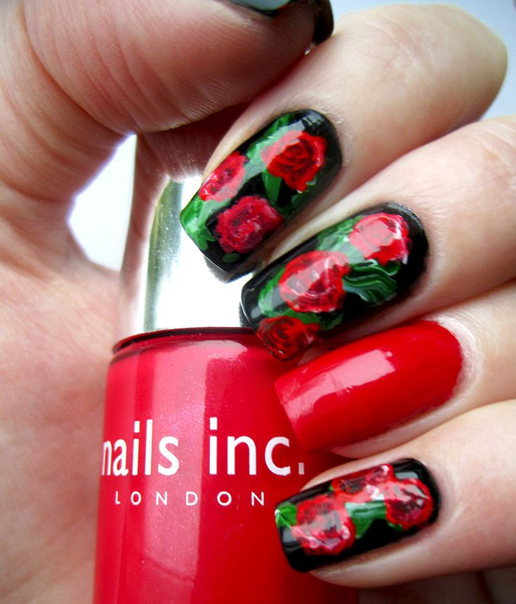 Red Rose Nail Art With Essie Double Breasted Jacket Uas Lindas