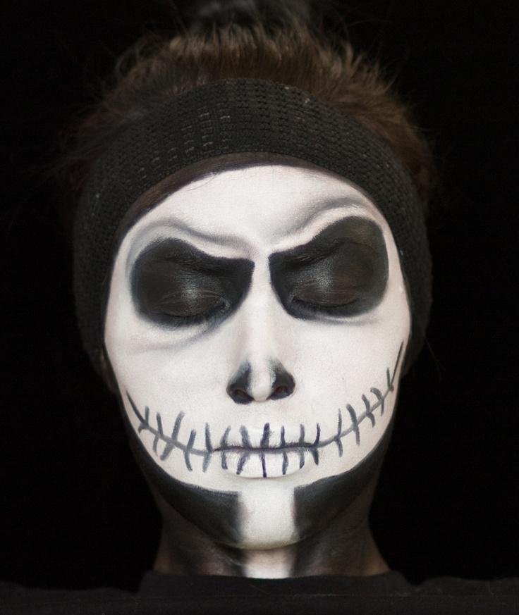 Very first tutorial look face makeup jack skelington scary jack