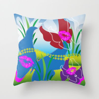 Butterfly Kisses Toyism Throw Pillow cover by Ramon Martinez Jr - $20.00