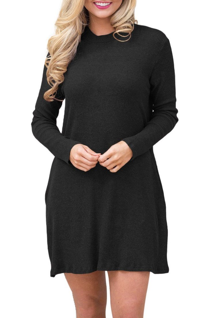 Robe Pull Tricot Noire Manches Longues Col Roule Pas Cher www.modebuy.com @Modebuy #Modebuy #Noir #simple #eveningdress #trend #styles