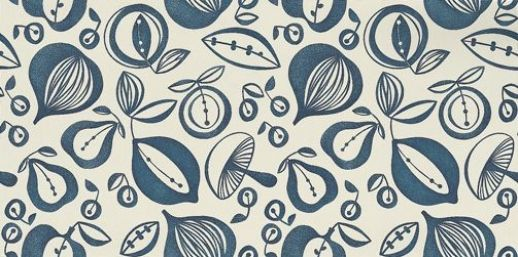 Portobello (210227) - Sanderson Wallpapers - A classic kitchen design with simple, bold almost potato-print effect vegetable shapes with a shaded effect as if hand printed. Shown in the cream and indigo. Please request sample for true colour match. Wide width.