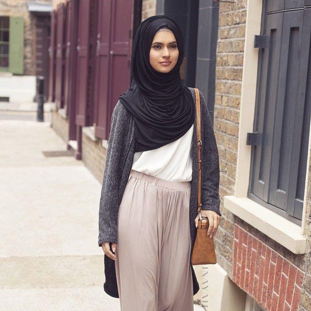 INAYAH | Charcoal Long #Cardigan + Stone Palazzo #Pants + White Crepe #Top + Black Maxi Jersey #Hijab www.inayahcollection.com