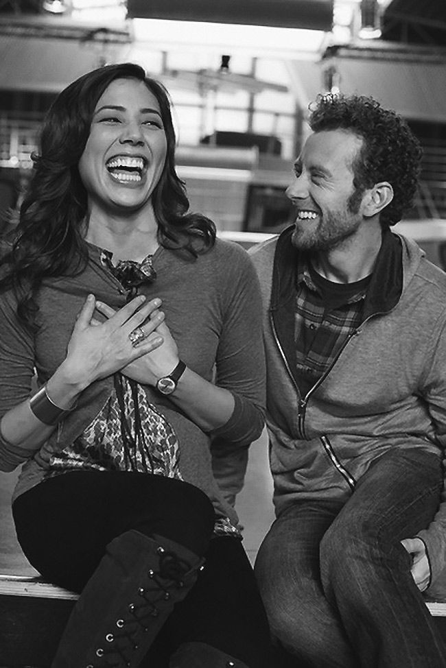 Behind the Scenes of Bones TV show - Michaela (Angela) & TJ (Hodgins). Photo by Gordon Lansdale. #laughter <3