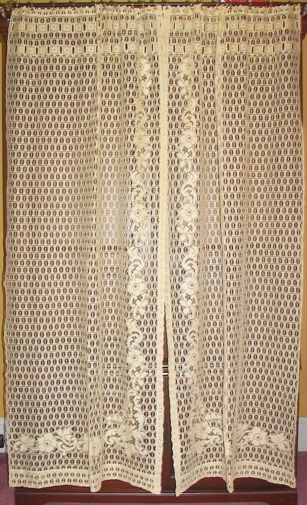 antique etsy beige vintage curtains intended curtain image panel for lace full swag ideas