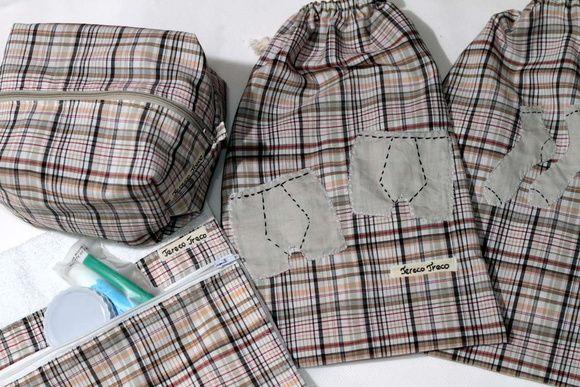 Tecido 100% algodão Kit com 1 nécessaire média, 1 toalha de bolso, 1 porta meias e 1 porta cuecas Preço por kit.  As peças também podem ser vendidas separadamente. Consultar valores.