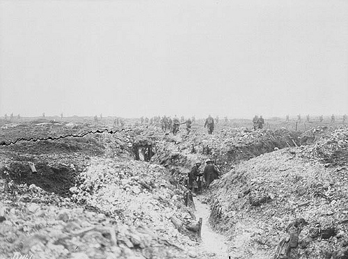 Canadians searching captured German trenches for hiding Germans at Vimy Ridge, during the Battle of Vimy Ridge.