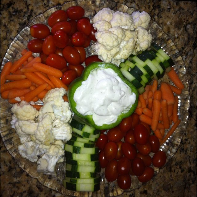 "Vegetable tray serve with ""honey"" mustard & ranch"
