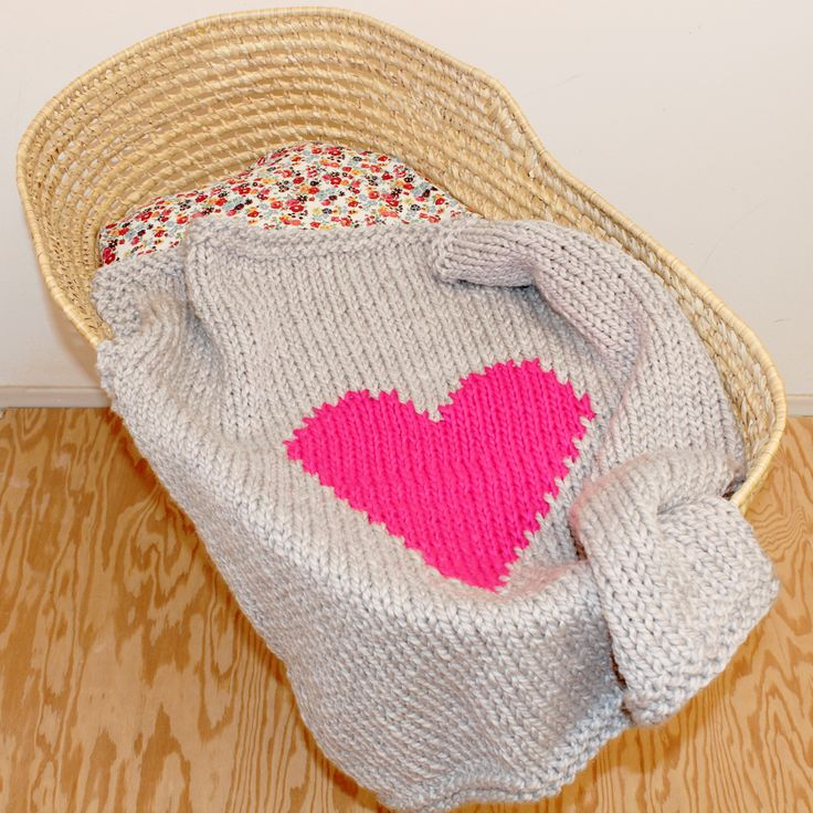 Grey and neon pink hand knit heart baby blanket!  https://www.etsy.com/listing/164155190/grey-and-neon-pink-knitted-heart-baby-or?ref=shop_home_active