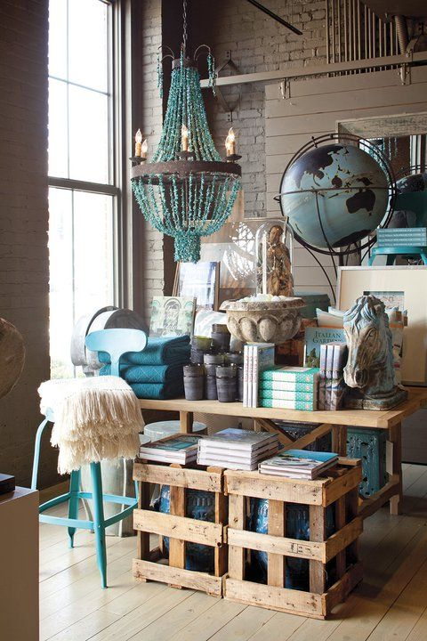 RUSTIC COLOR PALLETTE - Retail VM | Visual Merchandising | Home Adornment | Retail Design | Serene as seaglass at Revival in Chattanooga