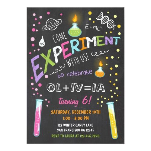 124 best science birthday party invitations images on pinterest science birthday party invitations science experiment birthday invitation girl stopboris Image collections
