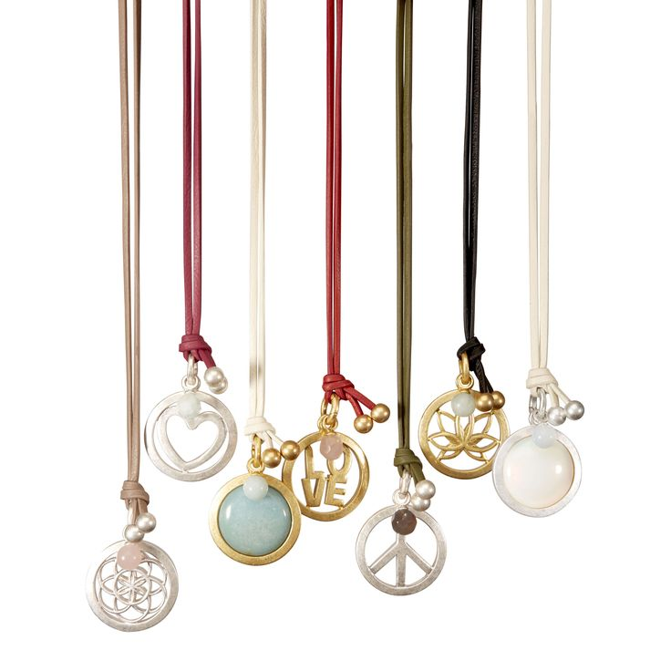 Leather necklaces with peace, heart, Ohm, lotus and opal by SENCE Copenhagen