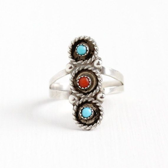 Sale - Vintage Sterling Silver Turquoise & Coral Ring - Size 8 3/4 Retro 1970s Teal Blue and Red Gem Southwestern Tribal Statement Jewelry