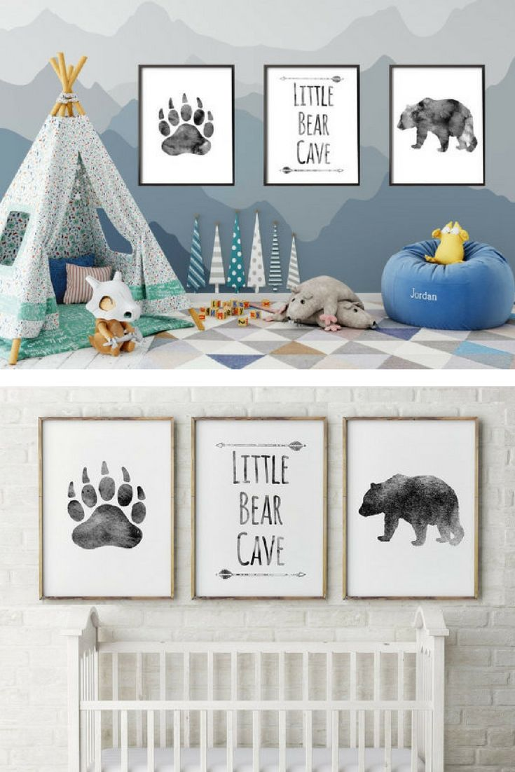 Above Crib Decor Baby Boy Nursery Bear Cave Grey Little Quote Set Of 3 Prints Art Gift For