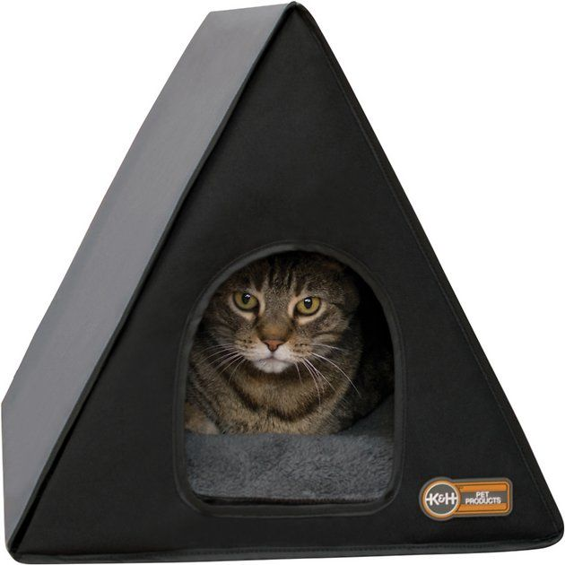 K H Pet Products Heated A Frame Cat House Gray Black Chewy Com Cat Bed Outdoor Cat House Cat House