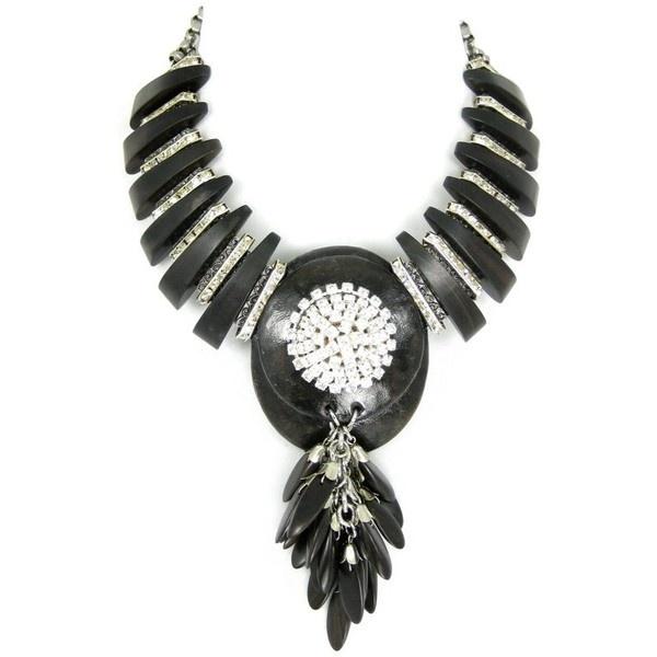 Karen McFarlane Ebony Wood Necklace found on Polyvore. Details: http://jewellerybykaren.com/boutique/necklaces/ebony-wood-and-rhinestone-necklace-with-pendant