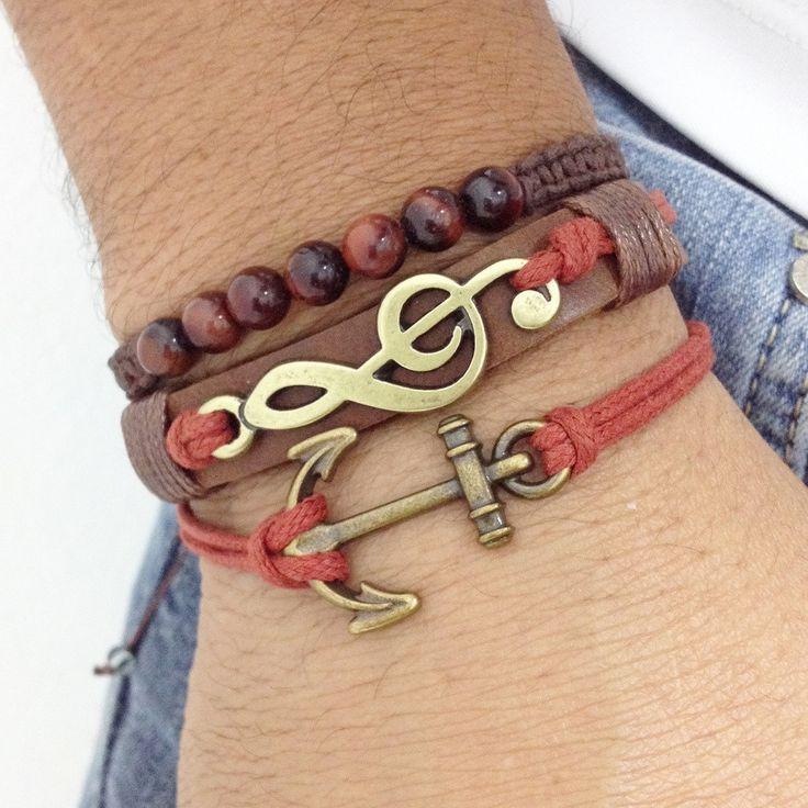 Masculine macrame bracelets for men.