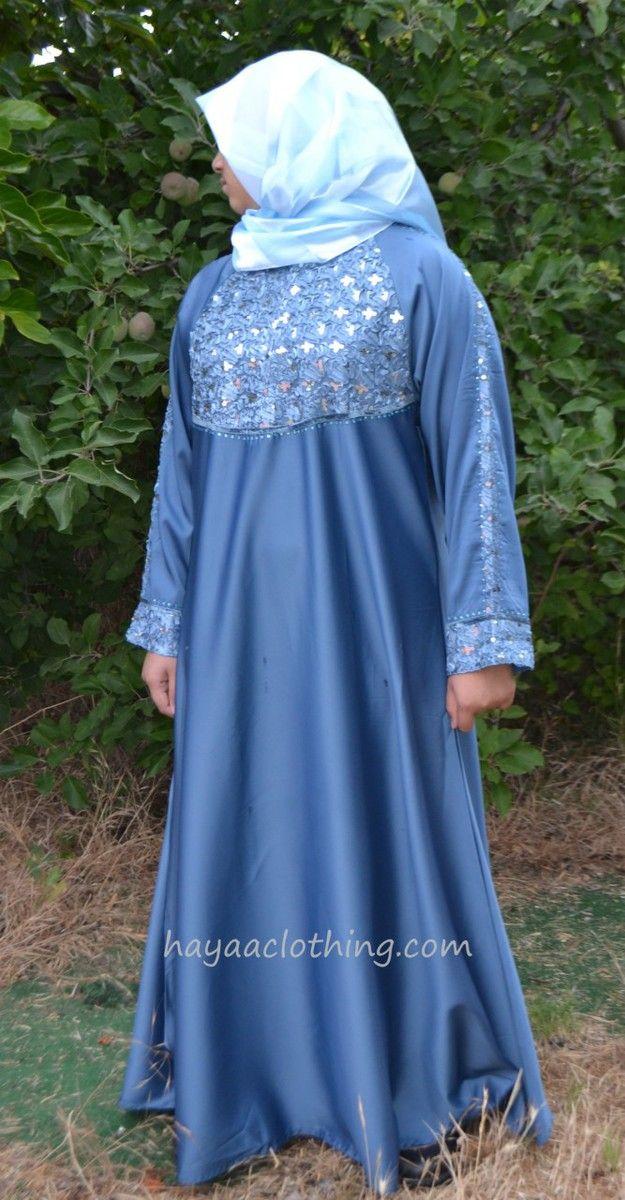 Fancy Umbrella Satin Abaya Ribbon Embellishment - DUSTY BLUE - Hayaa Clothing