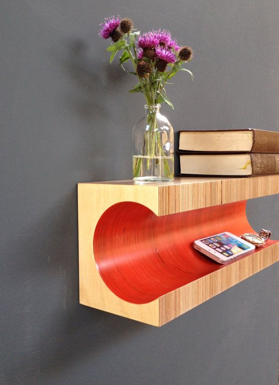 Red Shelf Wall mounted Plywood Shelf от MartinGallagher на Etsy