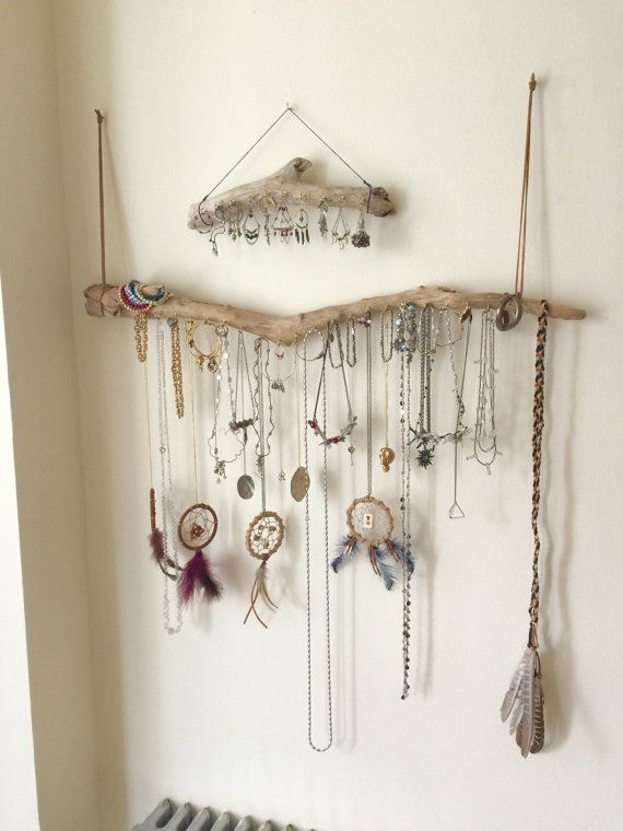 Driftwood Jewelry Organizer Wall Hanging Necklace Holder Bracelet Hanger Earring Display Tree  - Bohemian Beach Decor Natural Eclectic