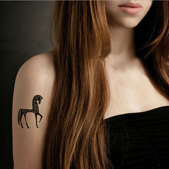 classic and elegant horse printing small tattoo temporary flash