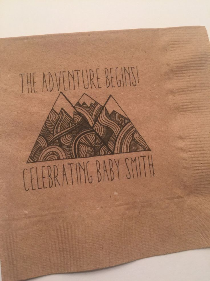 Set of 25 Kraft Personalized Adventure Begins Greatest Adventure Woodland Pow Wow Mountain Baby Shower Birthday Party  Cocktail Napkins by SparkleandSparrow on Etsy https://www.etsy.com/listing/462305727/set-of-25-kraft-personalized-adventure