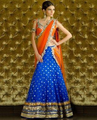 Sequined Orange and Ultramarine Lengha Choli with Dupatta