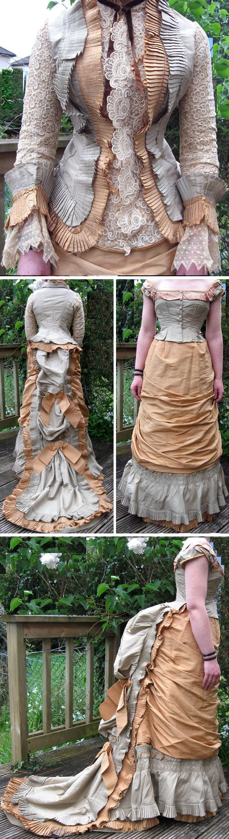 """Three-piece gown ca. 1878. Greenish-gray & beige/sandy-colored silk w/machine-made(?), cream-colored lace and silk & velvet bows. Lined w/cream/beige-colored cotton. Day bodice, not boned, has knife-pleated ruffles, long lace sleeves w/wide cuffs. Front button closure. Evening bodice (unboned) has light pink silk trim. Over-the-shoulder cut; closes in front. Skirt has draped apron-style front, bustle back, 21"""" long train, & knife-pleated ruffles on hem & train. madaboutfans/ebay via Extant…"""