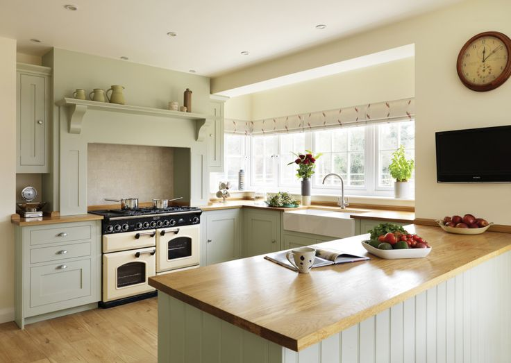 Lovely Photo Of Bespoke Farmhouse Farmhouse Kitchen Shaker Traditional Warm Sage  Sage Green Harvey Jones Kitchen With Belfast Sink White Walls And Range  Cooker