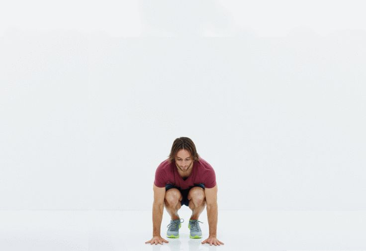 3. Power Thrust - 12 reps:  Crouch down and place hands on floor below shoulders. Jump feet back to land in the top of a push-up position. Jump feet back to start and jump up explosively, raising fingertips to the sky. Land softly and repeat.