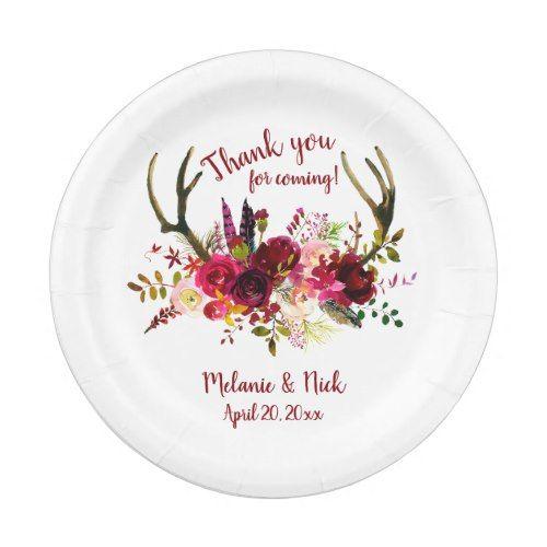 Burgundy floral deer antlers wedding decor paper plate