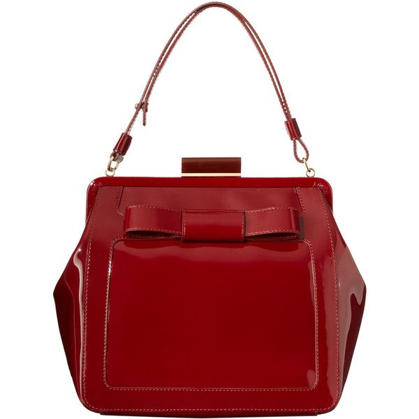 Orla Kiely Glossy Claret Patent Leather Holly Bag ($315) ❤ liked on Polyvore featuring bags, handbags, bolsas, claret, red handbags, red patent handbag, man bag, handbags purses and patent leather handbags