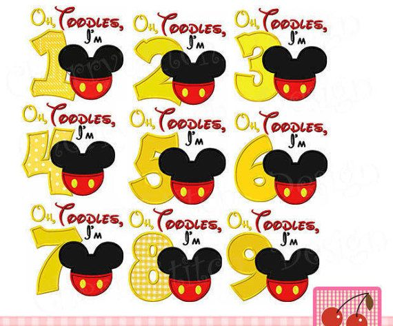 Oh Toodles Numbers Mickey Numbers Birthday Embroidery