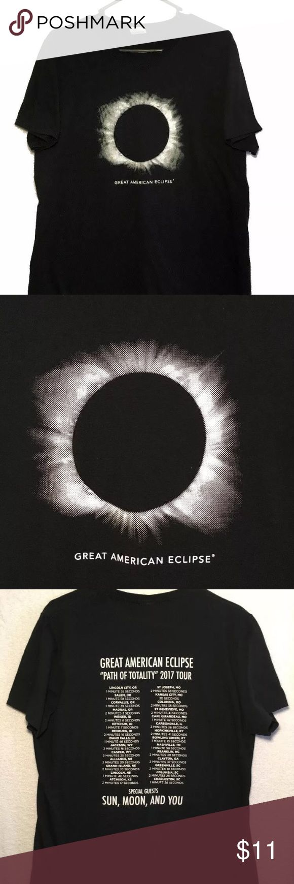 """Total Eclipse 2017 T-Shirt Mens Large Don't miss out on this Great American Eclipse t-shirt that was done like a concert tour shirt. The backside has the places across the USA that experienced the most darkness. Mens size large. This """"Path of Totality"""" 2017 tour started in Lincoln City, Oregon and ended in Charleston, South Carolina. Front features an image of an eclipse. Makes a great momento from that once in a lifetime event.  Measurements:  armpit to armpit: 21 inches length: 27.5…"""
