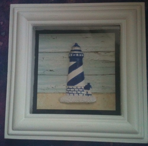 Beach Theme Home Decor Shadow Box Beach Gift: New Nautical Lighthouse Shadow Box Wall Decoration Beach