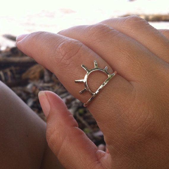 Sun Ring, Gold Sun Ring, Sunrise, Sunset, Handmade Maui Hawaii, Celestial Jewelry, Girls Rings, Christmas Gift Idea, Stocking Stuffer, Boho