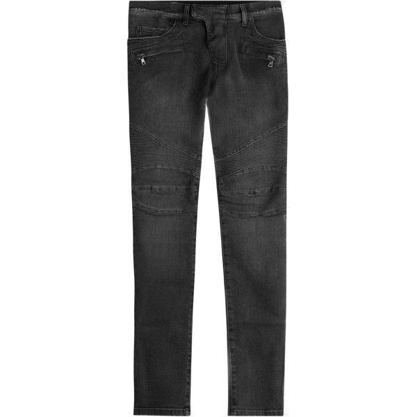 Balmain Skinny Biker Jeans (98.085 RUB) ❤ liked on Polyvore featuring men's fashion, men's clothing, men's jeans, grey, mens skinny fit jeans, mens denim jeans, mens grey skinny jeans, mens skinny jeans and mens grey jeans