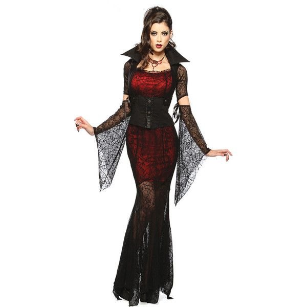 Super Cobweb Mesh Girls Halloween Vampire Costume (£36) ❤ liked on Polyvore featuring costumes, black, sexy halloween costumes, black costume, ladies costumes, vampire costumes and vampire halloween costumes