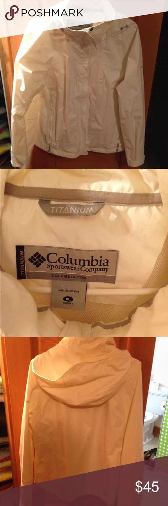 Columbia sportswear titanium waterproof jacket Women's waterproof jacket. Has a hood or you can roll it up and store under collar columbia sportswear Jackets & Coats