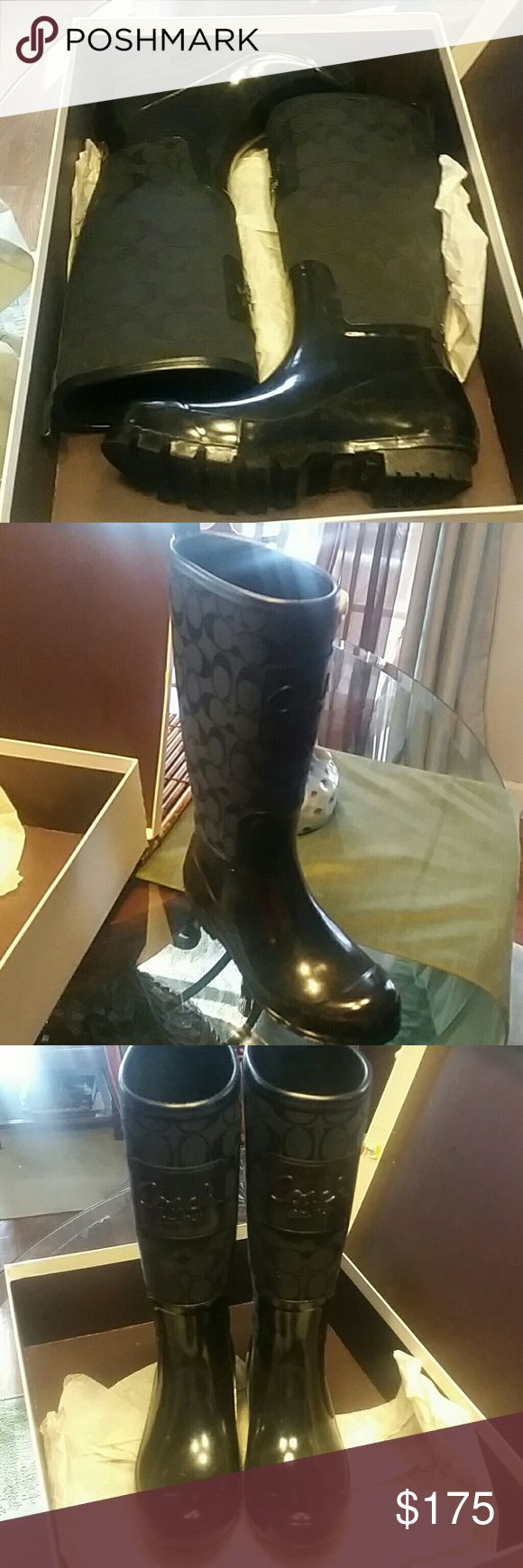 Coach Rain Boots in original box Black classy yet sporty rain boots by Coach.  Only worn a couple of times Coach Shoes Winter & Rain Boots
