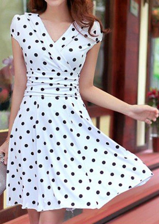 White Polka Dot Print Pleated V-neck Short Sleeve Chiffon Dress