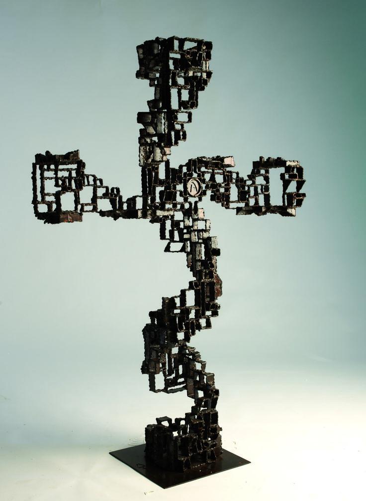 Akelo Andrea Cagnetti - CROSS (A. 116 cm; L. 80,5 cm; P. 29 cm)  - Sculpture Metal