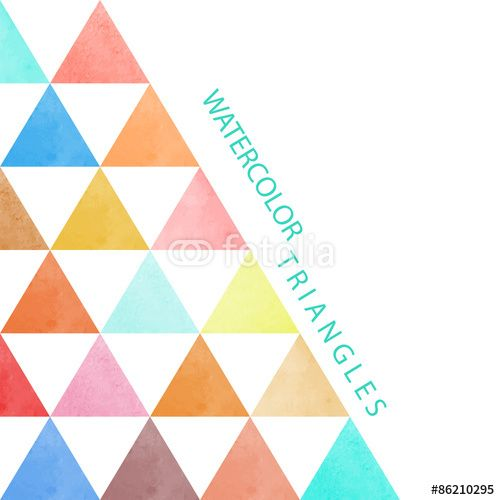 Vector: watercolor postcard with turquoise triangle for your text