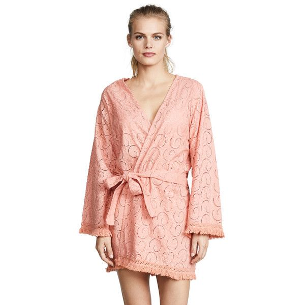 Melissa Odabash Pippa Cover Up Robe (328 AUD) ❤ liked on Polyvore featuring intimates, robes, apricot, melissa odabash, lightweight bathrobe, dressing gown, embroidered bathrobe and embroidered dressing gown