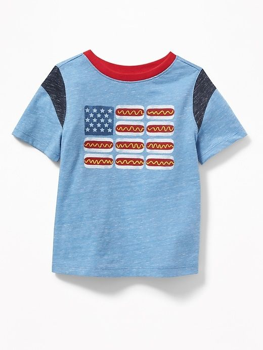 79f3a3b3 Old Navy Toddlers' Hot Dog Flag-Graphic Tee Cooler Than Blue Size 12-18 M