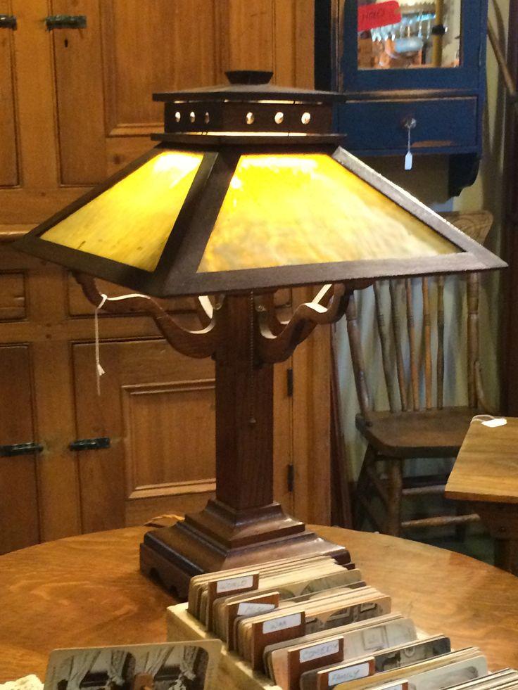Mission /Arts & Craft Lamp 1901-1905 - Oak with the original slag glass.