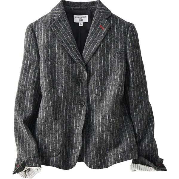 UNIQLO Women Idlf Soft Tweed Jacket (14285 RSD) ❤ liked on Polyvore featuring outerwear, jackets, dark gray, uniqlo, pinstripe jacket, tweed jackets and uniqlo jacket
