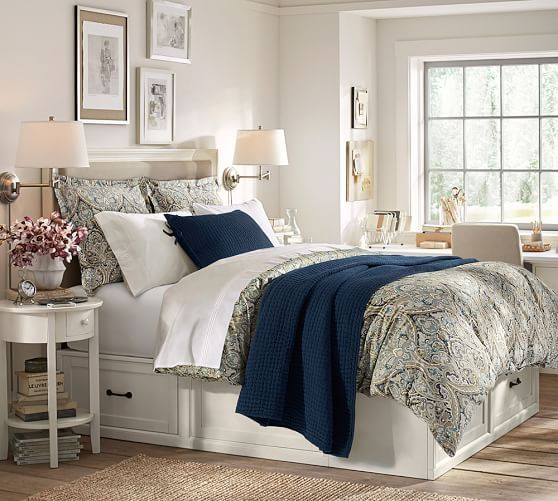 consider layering the mackenna paisley duvet cover shams with the washed velvet silk quilt and. Black Bedroom Furniture Sets. Home Design Ideas