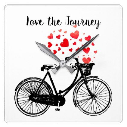 Love the Journey Inspirational Vintage Bike hearts Square Wall Clock - love gifts cyo personalize diy