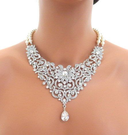 Bridal bib statement necklace, wedding necklace, rhinestone necklace, pearl necklace, dramatic necklace